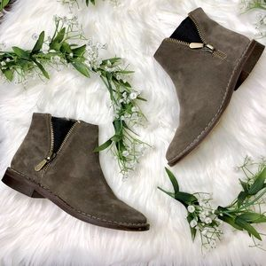 Clarks   Brown Suede Zipper Ankle Boots Sz 7.5
